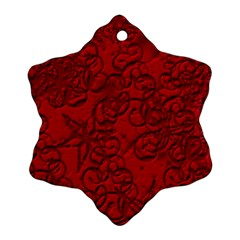 Christmas Background Red Star Snowflake Ornament (Two Sides)