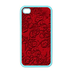 Christmas Background Red Star Apple Iphone 4 Case (color)