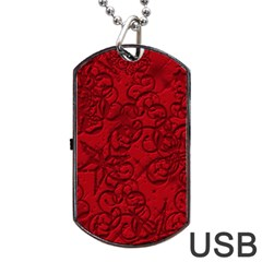 Christmas Background Red Star Dog Tag USB Flash (One Side)