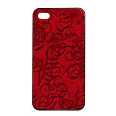 Christmas Background Red Star Apple iPhone 4/4s Seamless Case (Black)