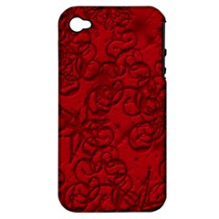 Christmas Background Red Star Apple Iphone 4/4s Hardshell Case (pc+silicone)