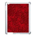 Christmas Background Red Star Apple iPad 3/4 Case (White) Front