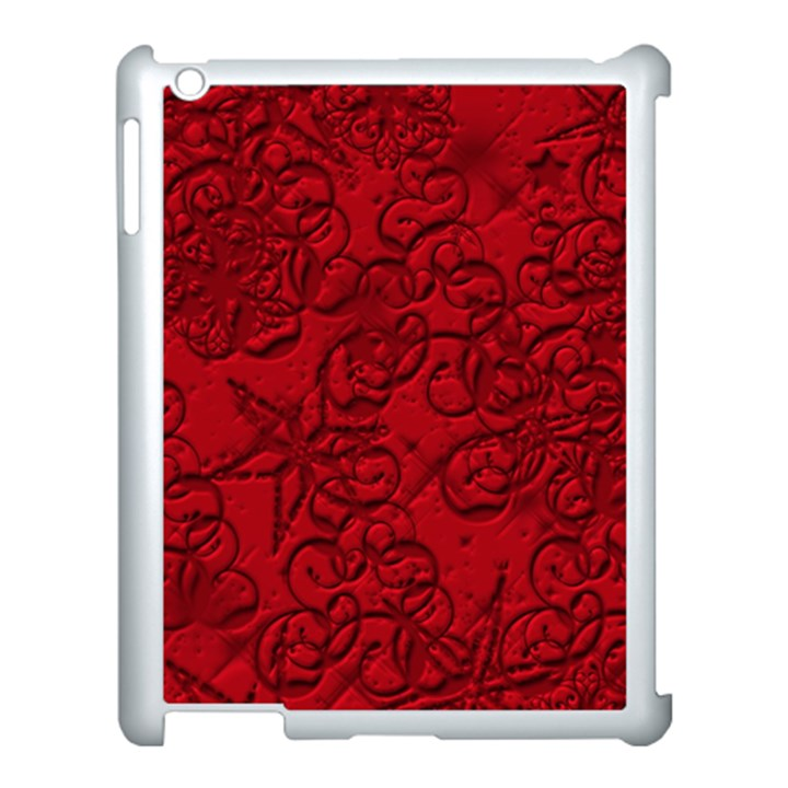 Christmas Background Red Star Apple iPad 3/4 Case (White)