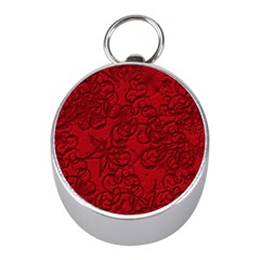 Christmas Background Red Star Mini Silver Compasses