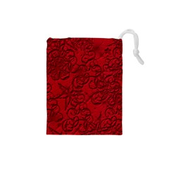 Christmas Background Red Star Drawstring Pouches (Small)