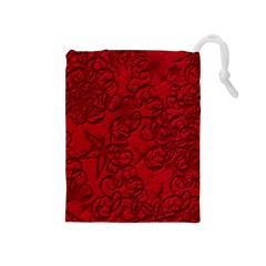 Christmas Background Red Star Drawstring Pouches (Medium)