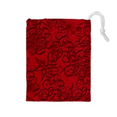 Christmas Background Red Star Drawstring Pouches (large)