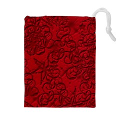 Christmas Background Red Star Drawstring Pouches (Extra Large)