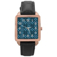 Abstract Pattern Design Texture Rose Gold Leather Watch