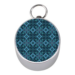 Abstract Pattern Design Texture Mini Silver Compasses