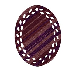 Stripes Course Texture Background Oval Filigree Ornament (Two Sides)