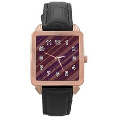 Stripes Course Texture Background Rose Gold Leather Watch