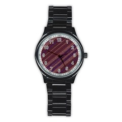 Stripes Course Texture Background Stainless Steel Round Watch