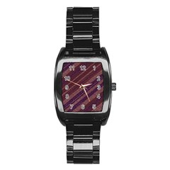 Stripes Course Texture Background Stainless Steel Barrel Watch