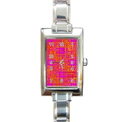Pink Orange Bright Abstract Rectangle Italian Charm Watch