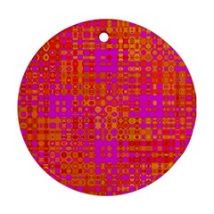 Pink Orange Bright Abstract Ornament (Round)