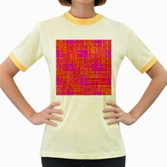 Pink Orange Bright Abstract Women s Fitted Ringer T Shirts