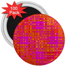 Pink Orange Bright Abstract 3  Magnets (100 pack)