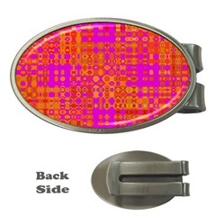Pink Orange Bright Abstract Money Clips (oval)