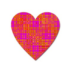 Pink Orange Bright Abstract Heart Magnet