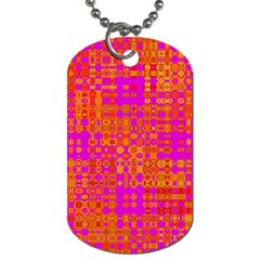 Pink Orange Bright Abstract Dog Tag (one Side)