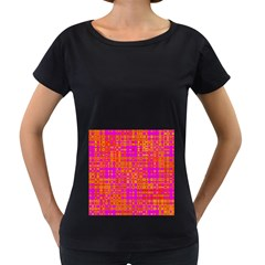 Pink Orange Bright Abstract Women s Loose-Fit T-Shirt (Black)