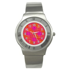 Pink Orange Bright Abstract Stainless Steel Watch