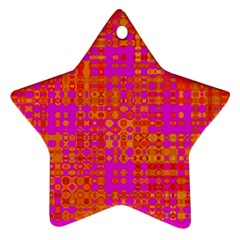 Pink Orange Bright Abstract Star Ornament (Two Sides)