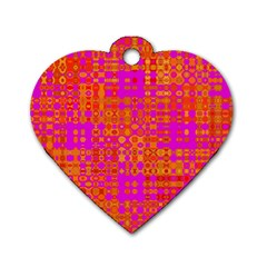 Pink Orange Bright Abstract Dog Tag Heart (One Side)