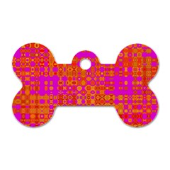 Pink Orange Bright Abstract Dog Tag Bone (one Side)