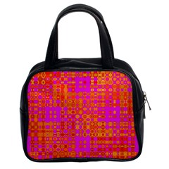 Pink Orange Bright Abstract Classic Handbags (2 Sides)