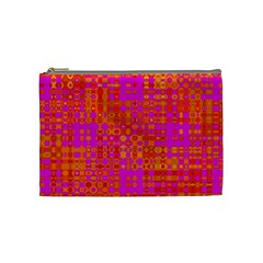 Pink Orange Bright Abstract Cosmetic Bag (medium)
