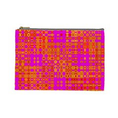Pink Orange Bright Abstract Cosmetic Bag (large)
