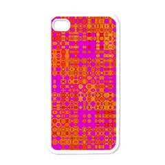 Pink Orange Bright Abstract Apple iPhone 4 Case (White)
