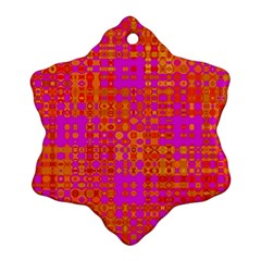 Pink Orange Bright Abstract Snowflake Ornament (Two Sides)