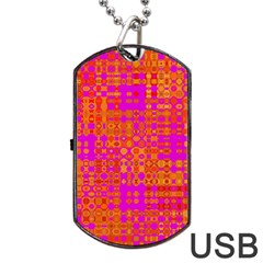 Pink Orange Bright Abstract Dog Tag USB Flash (One Side)