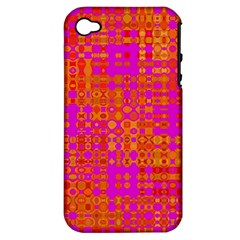 Pink Orange Bright Abstract Apple iPhone 4/4S Hardshell Case (PC+Silicone)