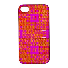 Pink Orange Bright Abstract Apple iPhone 4/4S Hardshell Case with Stand