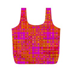 Pink Orange Bright Abstract Full Print Recycle Bags (M)