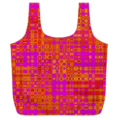 Pink Orange Bright Abstract Full Print Recycle Bags (l)