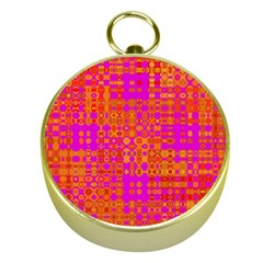 Pink Orange Bright Abstract Gold Compasses