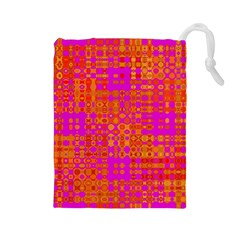 Pink Orange Bright Abstract Drawstring Pouches (large)