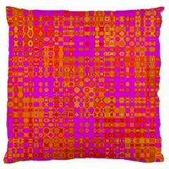 Pink Orange Bright Abstract Large Flano Cushion Case (One Side)