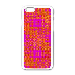 Pink Orange Bright Abstract Apple iPhone 6/6S White Enamel Case
