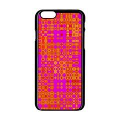 Pink Orange Bright Abstract Apple iPhone 6/6S Black Enamel Case