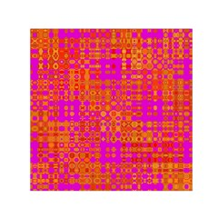 Pink Orange Bright Abstract Small Satin Scarf (Square)