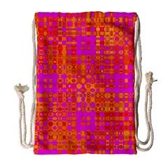 Pink Orange Bright Abstract Drawstring Bag (Large)