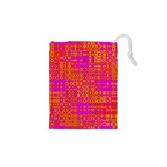 Pink Orange Bright Abstract Drawstring Pouches (XS)