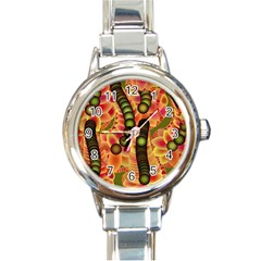 Abstract Background Digital Green Round Italian Charm Watch