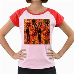 Abstract Background Digital Green Women s Cap Sleeve T Shirt